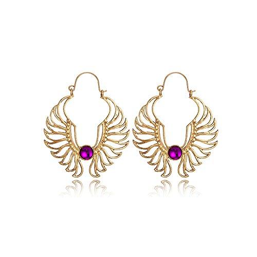 Hoops Gold Hollow (Gold Hollow Angel Wing Hoop Earring Clips Luxury Purple Amethyst Earring for Women)