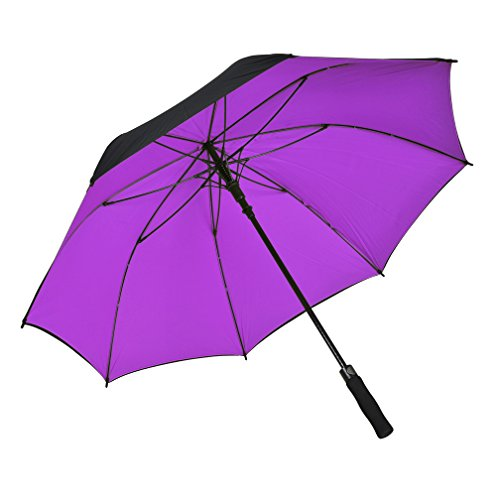Atree Dual Layer Windproof& Waterproof Golf Umbrella 56inch Large Oversize Auto Open Straight Umbrella Durable and Strong Enough(Purple)