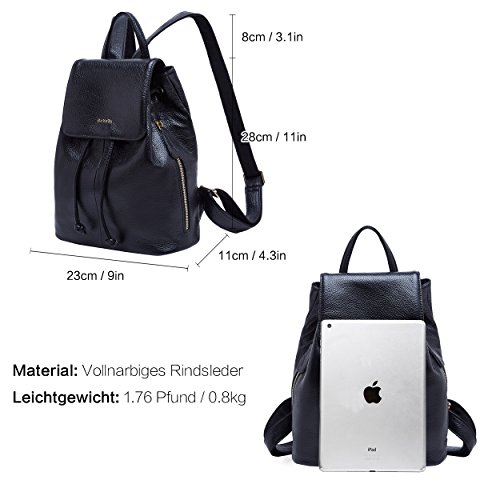 60790234835f Genuine Leather Mini Backpacks for Women Cute Travel Bags Small Purse for  Girls (Black)