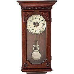 Howard Miller Jasmine Wall Clock 625-384 - Hampton Cherry with Quartz, Dual-Chime Movement