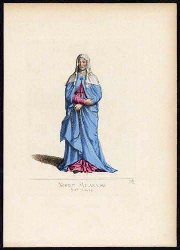 Fourteenth-century Italy Costumes (Antique Print-MILAN-NOBLE-ITALY-COSTUME-14TH CENTURY-PL 58-Bonnard-Mercuri-1860)