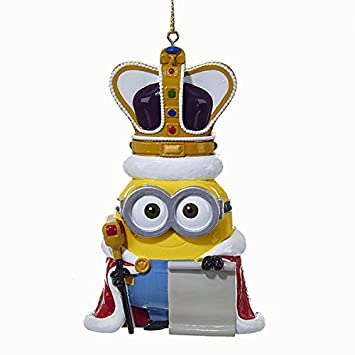 Kurt Adler Despicable Me King Bob Minion Personalization Bas Relief Ornament