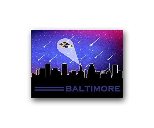 ATLAS Baltimore Ravens Poster Sports Art City Skyline Print Man Cave Decor 12x16