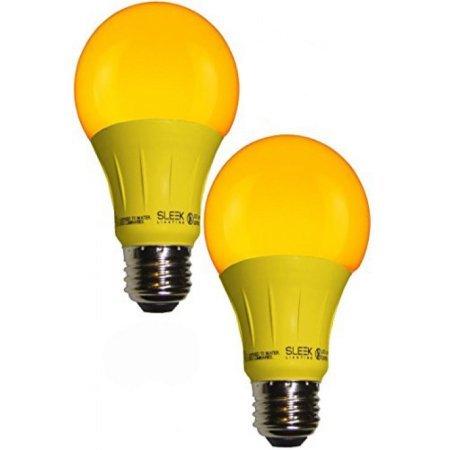 Sleeklighting LED A19 Yellow Light Bulb, 120 Volt - 3-Watt Energy Saving - Medium Base - UL-Listed LED Bulb - Lasts More Than 20,000 Hours 2pack