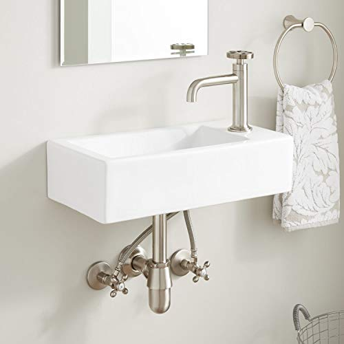 """Signature Hardware 436065 Grumm 20"""" Porcelain Wall Mounted Bathroom Sink with Right Single Faucet Hole"""