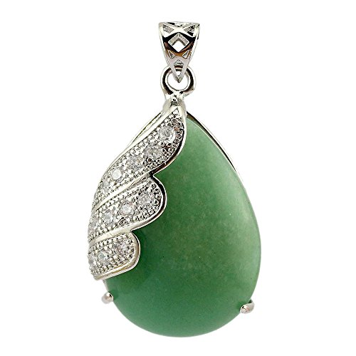 Happy Hours - Single Angel Wing Crystals Stones Teardrop Dangle Bead / Natural Water Droplet Pointed Healing Chakra Stone Pendant Fits All Necklace(Green Aventurine)
