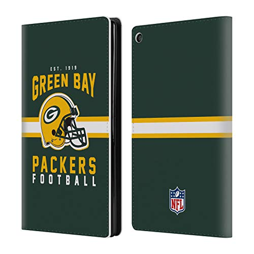 Official NFL Helmet Typography 2018/19 Green Bay Packers Leather Book Wallet Case Cover for Amazon Fire HD - Case Leather Phone Fire Wallet