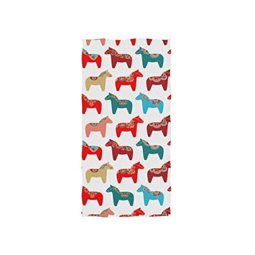 YOULUCK-7 Sweden Dala Horse Large Hand Towels, Multipurpose Hand Towel for Bath, Hand, Face, Gym and Spa