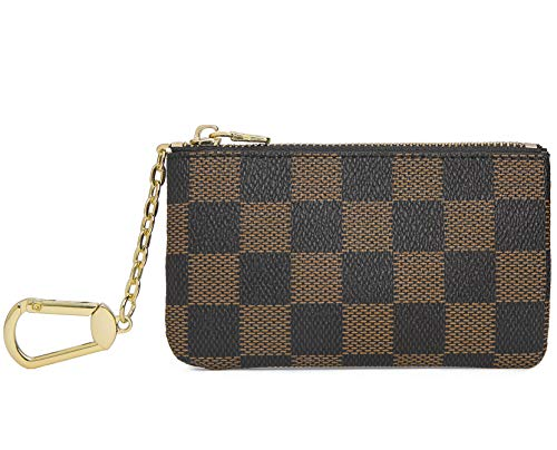 Miracle Checkered Zip Key Chain Pouch | Mini Coin Purse Wallet Card Holder with Clasp | PU Vegan Leather for Men Women (Brown)