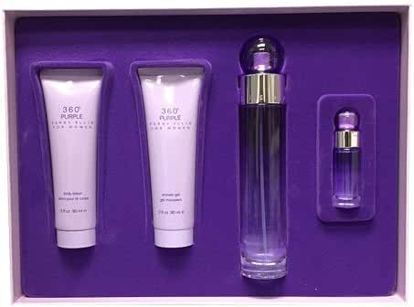 Perry Ellis 360 Purple 4 Piece EDP Spray/Body Lotion/Shower Gel Gift Set for Women