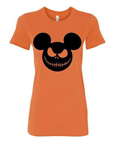 Mickey Grinning Jack O Lantern | Womens Halloween Junior Fit Women's Tee Graphic T-Shirt, Orange, 2XL