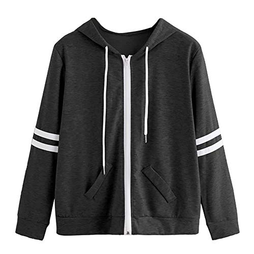 Londony New Seasons Coat Sale,Women's Jersey Zip-up Stripe Hoodie Classic Jacket Hooded Pullover Tops Pocket ()