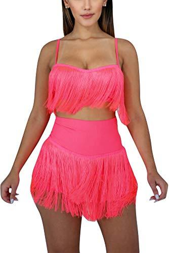 (Women 2 Piece Outfits Clubwear Tassel Crop Top and Skirt Set Pink M )