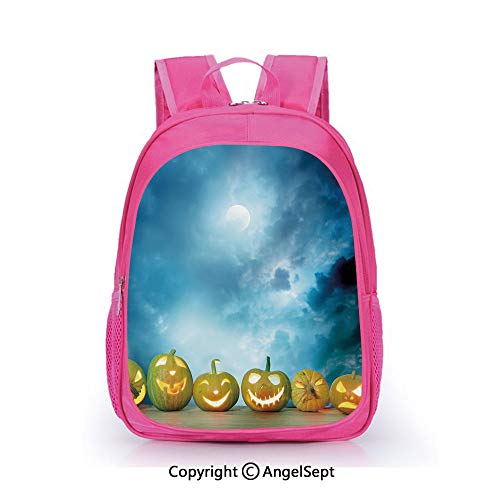 Hot Sale Backpack Casual Daypack,Spooky Halloween Pumpkins on Wood Table Dramatic Night Sky Print Decorative Dark Blue Light Blue Yellow,15.7inch,Travel Outdoor Backpack For Boys And Girls]()