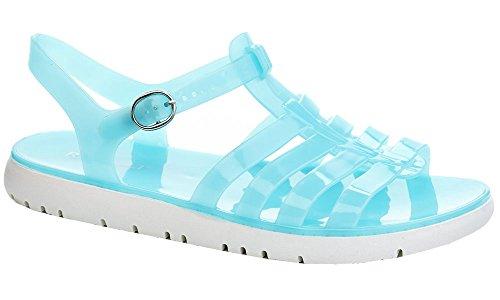 Blue Gladiator Flat T Rasolli Fisherman Sandals Soft Buckle Closure Women's Jelly Strap qwwPTXz