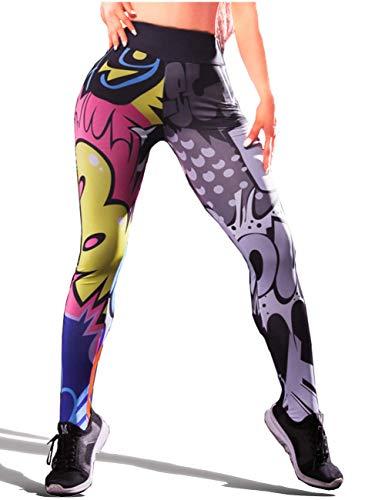 FONEEDGO Leggings for Women Printed Womens High Waisted Sport 3D Yoga Pants Tights Ladies Grey ()