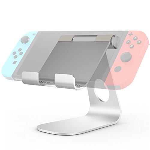 MoKo Stand for Nintendo Switch, Compact 210 Degree Multi-Angle Rotatable Aluminum Alloy Desktop Cradle Holder Display Playstand for Nintendo Switch, Silver ()