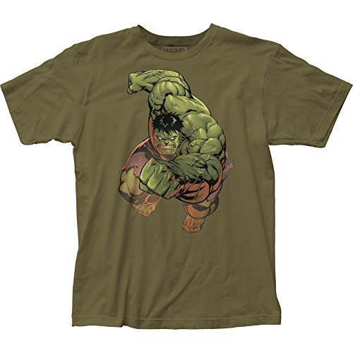 Impact Merchandising The Incredible Hulk Punch Fitted Jersey tee (Large) Military Green (The Incredible Hulk The Television Series Ultimate Collection)