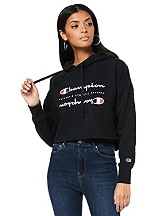 Champion Women's Sporty Cropped Hoodie, Black/White, Large