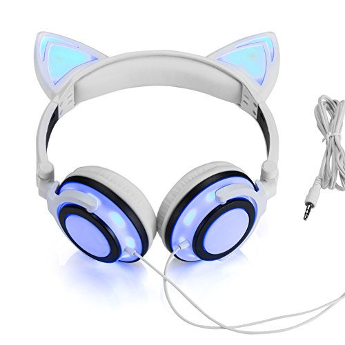 JINSERTA Wired Cat Ear Headphones Glowing Lights with USB Charging Cable