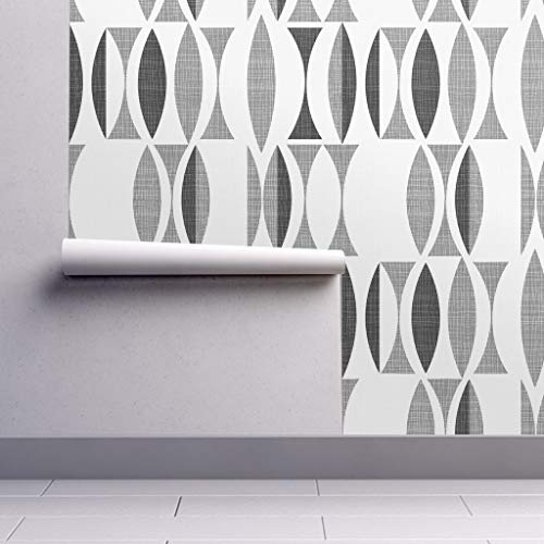 Peel-and-Stick Removable Wallpaper - Mid Century Modern Seventies Mod Seventies Vintage Minimalist Mod by Chicca Besso - 12in x 24in Woven Textured Peel-and-Stick Removable Wallpaper Test Swatch ()