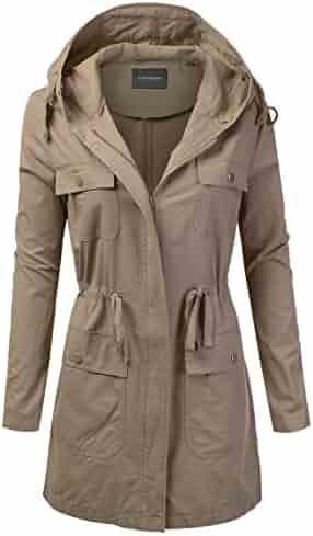 078b4cb781c JJ Perfection Women's Casual Lightweight Anorak Army Utility Hoodie Jacket