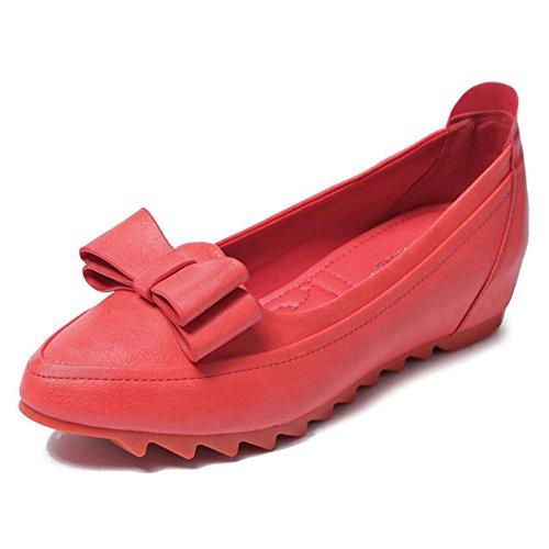 Mujer Cómodos de Planos Individuales Zapatos Zapatos Zapatos de Zapatos de Frijoles Aumentar Rojo Arco MYI Primavera Zapatos Pequeños de Pendiente con ETvWxPq