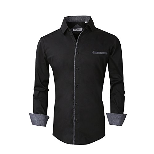 - Alex Vando Mens Dress Shirts Long Sleeve Regular Fit Casual Men Shirt(Black,Small)
