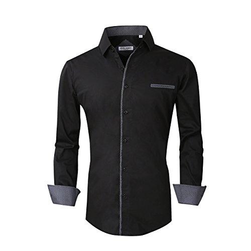 Alex Vando Mens Dress Shirts Long Sleeve Regular Fit Casual Men Shirt(Black,Large) (Sleeve Black Dress Long Shirt Men)