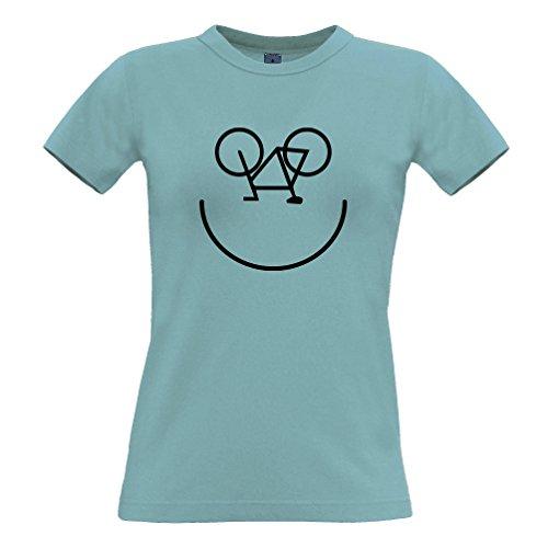 Tim and Ted Bike Smiley, stampato Logo Designer novità Ciclista Art Estate T-Shirt Da Donna