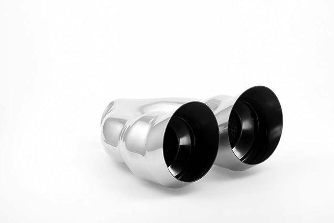 Edelstahl Endrohr Anschweissendrohr Blende Tuning DTM 2x76mm mit EG