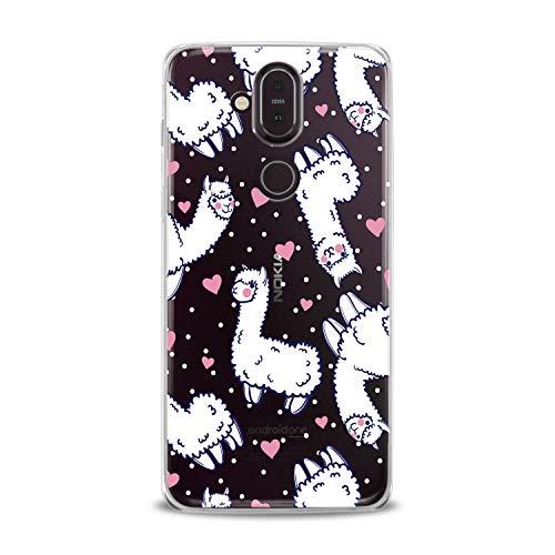 Lex Altern TPU Case for Nokia 9 PureView 8.1 Plus 7.1 6.1 X6 5.1 3.1 Cute White Llama Adorable Pink Hearts Dot Pattern Kawaii Cover Silicone Print Beautiful Kid Girl -