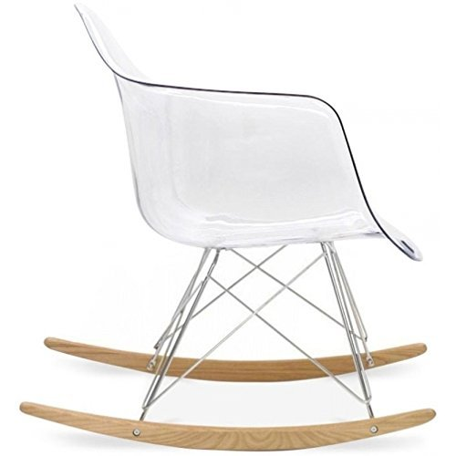 2xhome Eames Style Molded Modern Plastic Armchair – Contemporary Accent Retro Rocker Chrome Steel Eiffel Base - Ash Wood Rockers - Rocking Mid Century Style Lounge Arm Chair Matte Finish (Clear) Clear Living Room Chair