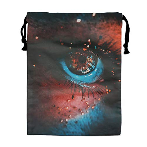 Eyes Eyelashes Paint Sequins Drawstring Bags Party Favors Bags(1 Pack), Personalised Birthday Fabric Party Goodie Bag Gift for Kids Boys & Girls