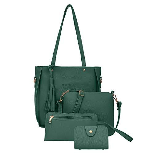 SMALLE ◕‿◕ Crossbody Bag for Women, Women Fashion Handbags Tote Bag Shoulder Bag Top Handle Satchel Purse Set 4pcs Green