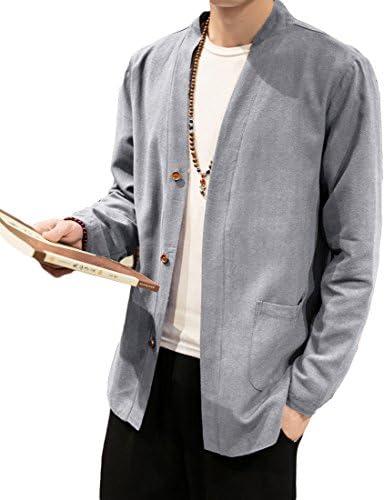 メンズ コートジャケット 春物 スプリングコート 春コート 中国風 大きいサイズ 綿麻 ハーフ丈 カジュアル