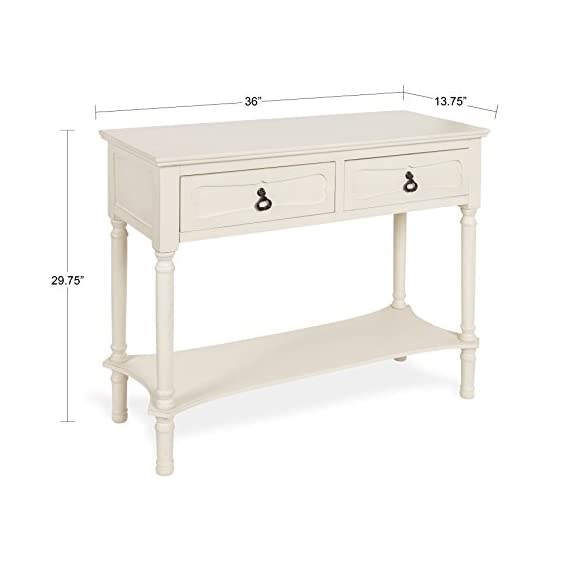 Kate and Laurel Marcella Wood Console Table with 2 Drawers and Shelf, Antique White - The Marcella Console Table is a casually chic accent that will create instant charm in your home. The lovely inset wooden detail and the weathered antique white finish adds to the overall traditional look while the curved spindle legs create a sense of elegance This table has enough surface space to fit a collection of photo frames and several of your favorite home decor items. The overall dimensions are 36 inches wide by 13.75 inches deep and 29.75 inches tall. This console sofa table has two storage drawers with attractive black metal pulls that fit in with the overall look of the piece. The two drawers measure 14.25 x 9.75-inches inside and are made with a drawer stop, so they don't fall out when pulled open - living-room-furniture, living-room, console-tables - 41p8hlEFwSL. SS570  -