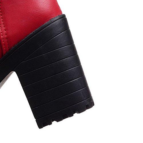 Allhqfashion Donna Low-top Solido Lace-up Tacchi Alti Stivali Punta Chiusa Rosso