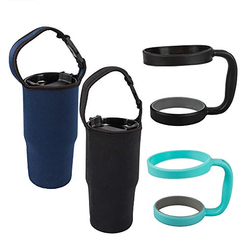 Set of 4, Tumbler Carrier Pouch and Holder For All 30oz Travel Insulated Coffee Mug, findTop 2 Pack Black & Navy Tumbler Carrier Handle Bag and 2 Pack Green & Black Holder ()