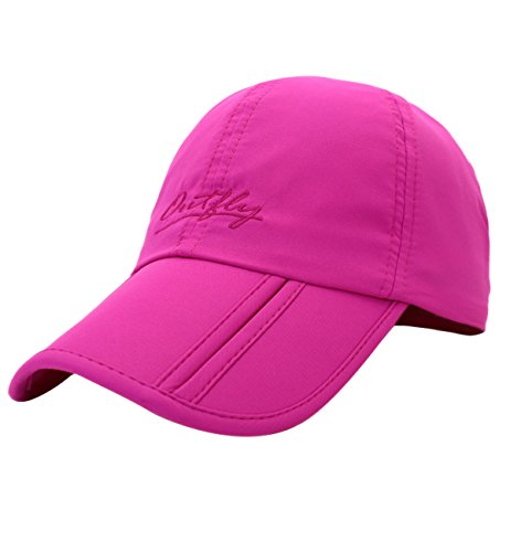 Sumolux Men and Women Outdoor Rain Sun Waterproof Quick-drying Long Brim Collapsible Portable Hat (Rose red)