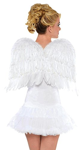 [Amscan Womens White Feather Wings (Ages 14+) Halloween Costume Accessory] (Angel Wings For Halloween Costumes)