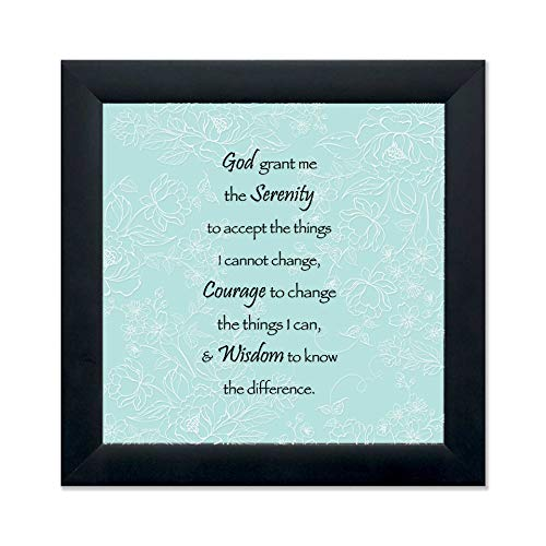 Elanze Designs Serenity Prayer 12 x 12 Black Wood Shadow Box Framed Sign (Black Framed Plaque)