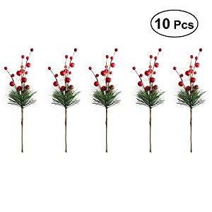 ULTNICE 10pcs Small Artificial Pine Picks Stimulation Berry Pine Needles Red Berry Flower Ornaments for Christmas Flower Arrangements Wreaths Holiday Decorations 115