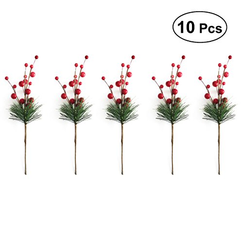 ULTNICE 10pcs Christmas Tree Picks Holly Berry Craft Artificial Red Berry Pine for Christmas Flower Arrangements Wreaths Holiday Decorations