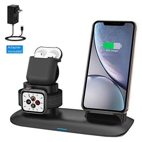 Cheap Wireless Charger, Wireless Charging Station for iPhone AirPods and Apple Watch, 3-in-1 Qi 7.5W/10W Fast Charging Stand Works for iPhone 11/11 Pro/8/8 Plus/Xs MAX/XS/XR and iWatch Series 5 4 3 2 1 wireless charger for iphone