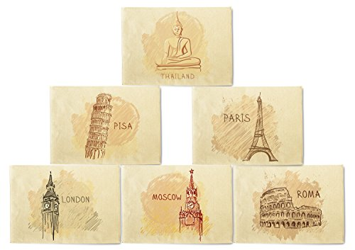 (VietsWay World Famous Landmark Series Printed Canvas Placemats 13x19 Inch Set of 6)