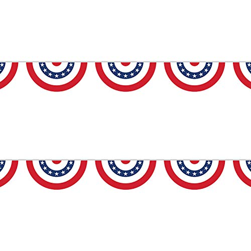Patriotic Garland Decorations (2 Pack) - American Flag Bunting Banner for 4th of July Party, Veterans Day, Labor Day Holiday and More