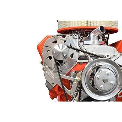 ICT Billet SBC Billet Alternator Bracket Adjustable LWP Small Block Chevy Kit 305 327 350 383 5.0L 5.7L V8 Eight Cylinder Long Water Pump Carburetor V Belt Compatible With Chevrolet 551411: Automotive