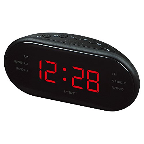 "FM Radio Dual Alarm Clock with Snooze and Sleep Timer, Kaimao 1.2"" LED Display Radio Clock - US Charger(Red)"