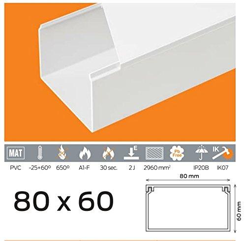 (3, 99 euros/M) 10 m de câ ble Canal 80 x 60 mm PVC couleur Blanc 99euros/M) 10m de câble Canal 80x 60mm PVC couleur Blanc Verschiedene Marken